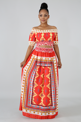 Flaming Maxi Skirt Set