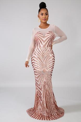 Sequin Sheer Dazzle Mermaid Dress